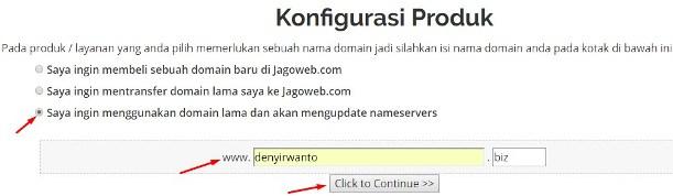 konfigurasi produk domain dan hosting di jagoweb.com