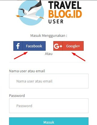 registrasi bisa melalui akun facebook atau akun gmail