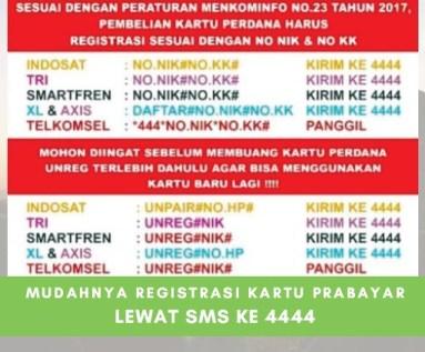 UPDATE, Cara Mudah Registrasi dan UNREG Kartu Prabayar Melalui SMS ke 4444